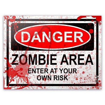 Placa - Danger Zombie Area - Blood Edition - 20x15 cm - Yaay
