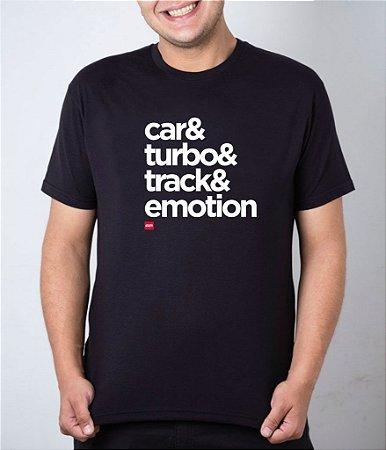 Camiseta preta Carro + Turbo + Pista + Emoção