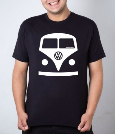 Camiseta preta desenho frente Kombi
