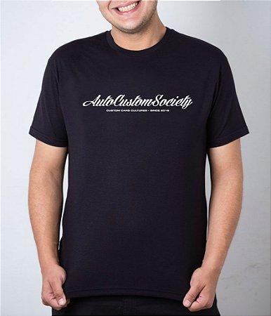 Camiseta preta AutoCustom Society Custom Car Cultures