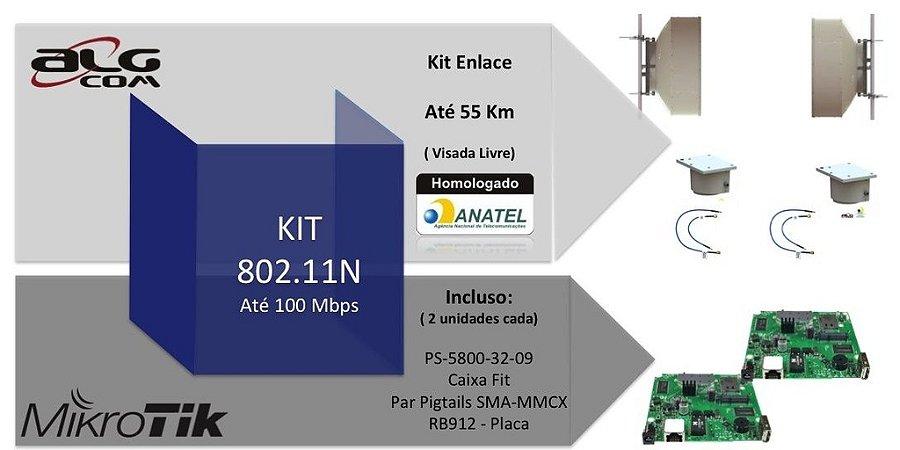 Kit Ponto a Ponto ALGcom Mikrotik 802.11n - 100 Mbps para até 55km