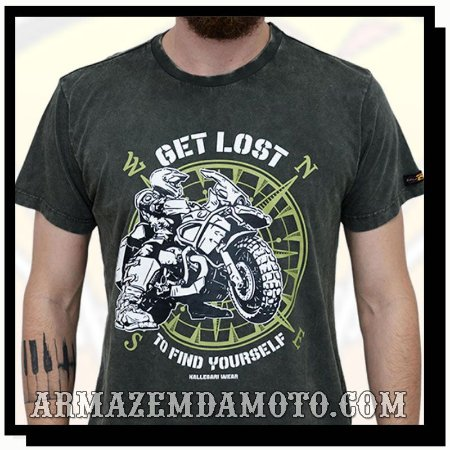 CAMISETA GET LOST TO FIND YOURSELF ESTONADA CINZA
