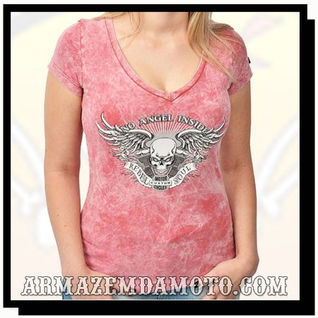 CAMISETA FEMININA NO ANGEL INSIDE ESTONADA ROSA