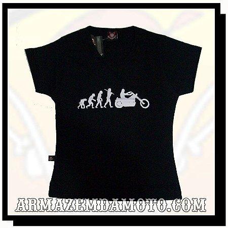 CAMISETA BABY LOOK FEMININA EVOLUÇÃO MOTO CUSTOM
