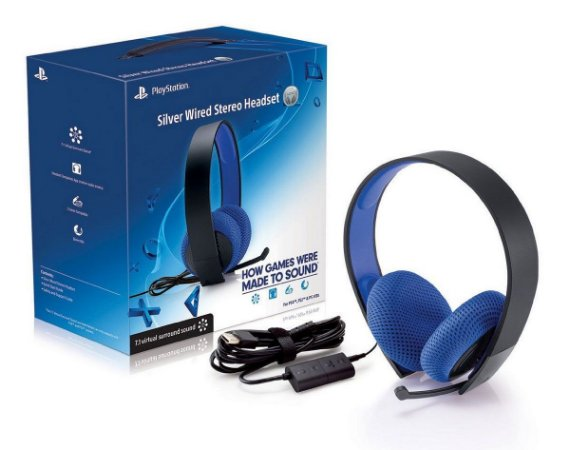 PS4 - Silver Wired Stereo Headset 7.1 (Headset Silver com fio PS4 - Sony)