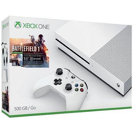 XboxOne - Console Xbox One S 500GB - Edição Battlefield 1 - Microsoft (Branco)