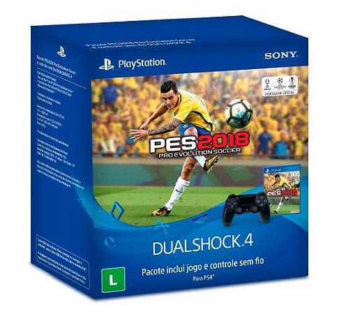 PS4 - Bundle Controle Dualshock 4 Preto + Jogo PES 2018
