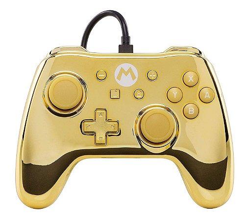 Switch - Controle Com Fio: Gold Chrome Mario