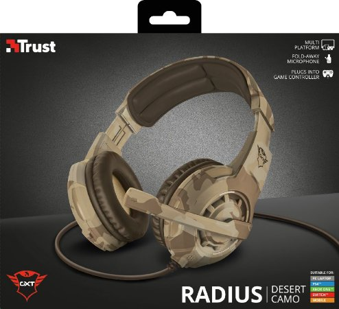 Headset Trust GXT 310D Radius Gaming Headset para PC/PS4/XboxOne/Switch - Desert Camo