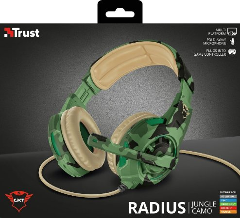 Headset Trust GXT 310C Radius Gaming Headset para PC/PS4/XboxOne/Switch - Jungle Camo