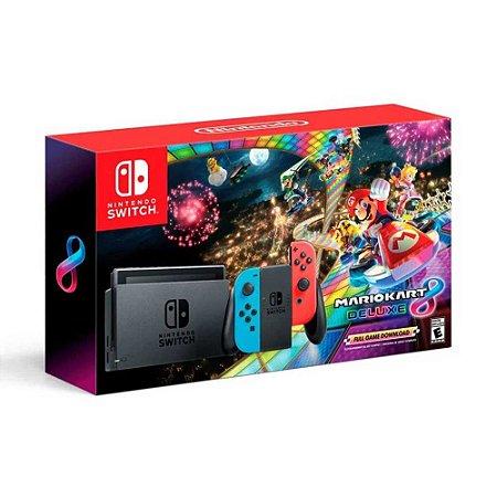 Switch - Console Nintendo Switch Vermelho e Azul + Mario Kart 8 Deluxe