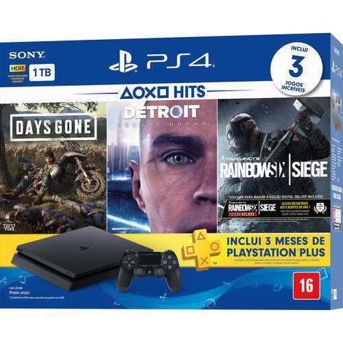 PS4 - Console Playstation 4 Slim 1TB Bundle (Days Gone, Detroit, Rainbow Six Siege) - Nacional