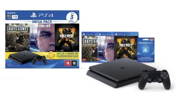 PS4 - Console Playstation 4 Slim 1TB Bundle (Days Gone, Detroit, Call of Duty) - Nacional