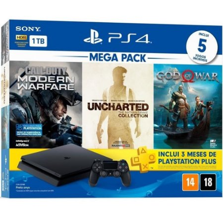 PS4 - Console Playstation 4 Slim 1TB Mega Pack (Call of Duty Modern Warfare, Uncharted Collection, God of War) - Nacional