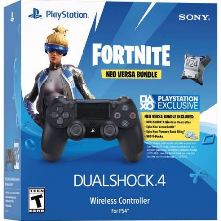 PS4 - Controle Sem Fio Dualshock 4 - Preto + Fortnite Pacote de Neo Versa