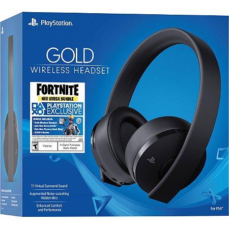 PS4 - Headset Sony New Gold 7.1 Wireless (Headset Gold Sem Fio PS4 - SONY - Edição Fortnite)