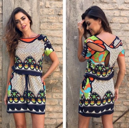 VESTIDO TROPICAL VISCOSE ESTAMPA EXCLUSIVA