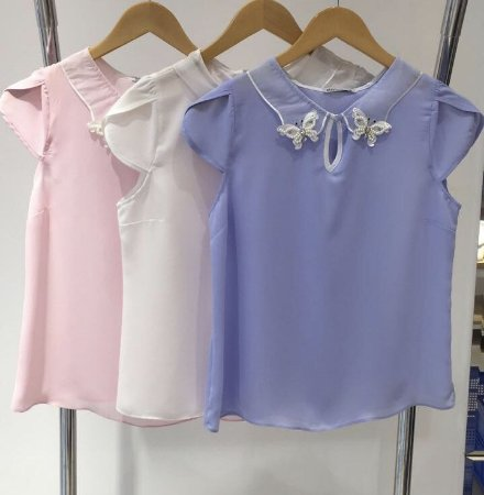 BLUSA CREPE VERONICA AZUL/OFF E ROSE