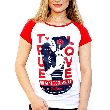 Camiseta feminina raglan vermelha True Love