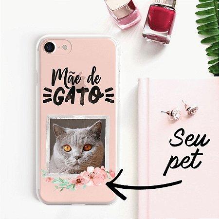 Capa transparente com personalização mãe de gato