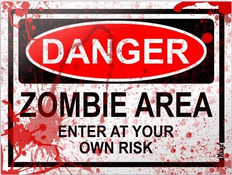 Placa Decorativa - Danger Zombie Area