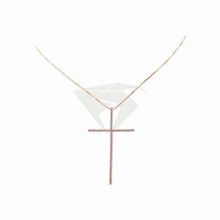 Colar Cruz Palito Ouro 18k cravejado em Zirconias Cristal