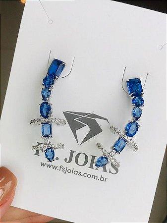 Earcuff Big Azul Safira RB