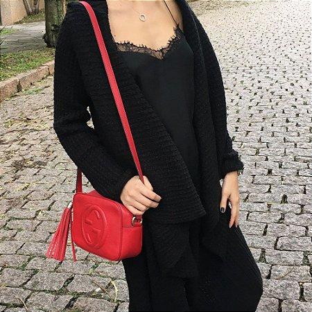 Casaco Maxi Tricot Longo Comphy All Black