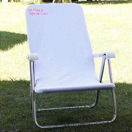 Toalha para Cadeira de Praia Comphy Branca – Sol, Praia & Água de Coco.