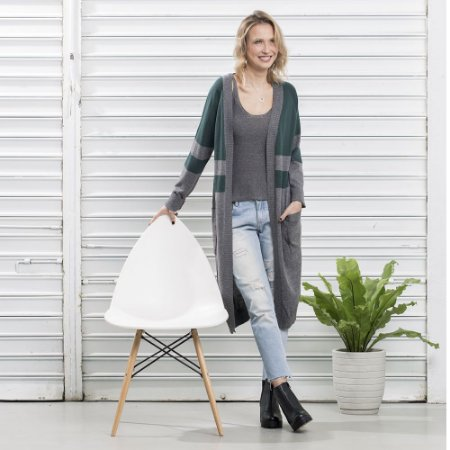 Maxi Cardigan Tricot Comphy Grey&Olive