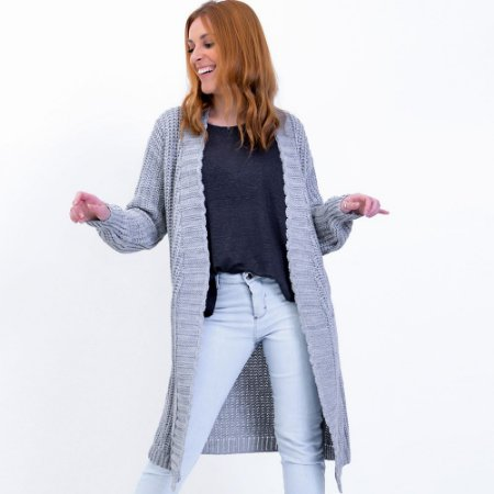Cardigan Maxi Tricot com Bolso Comphy Light Grey