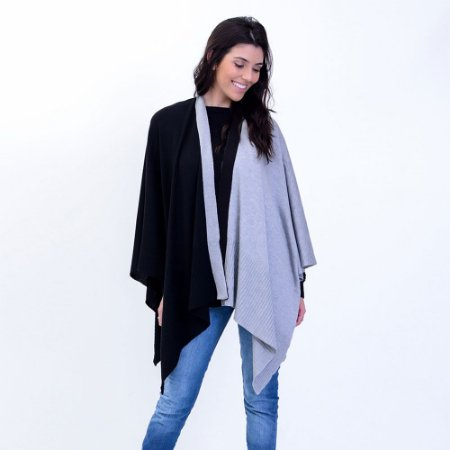 Poncho Tricot Comphy Grey&Black