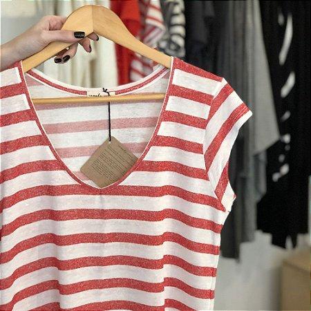 Camiseta Tricot Linho V Listras Vermelhas
