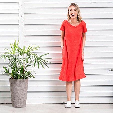 Vestido Tricot Linho Amplo com Bolsos Vermelho