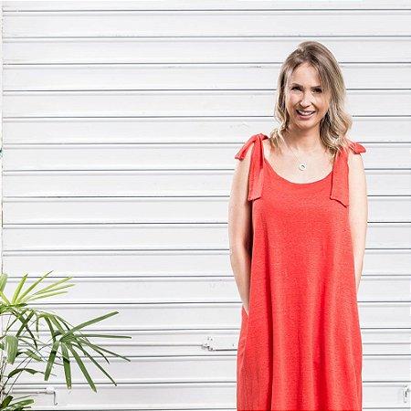 Vestido Tricot Linho Laço Vermelho