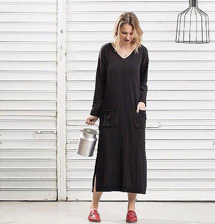 Vestido Tricot Bolsos Preto