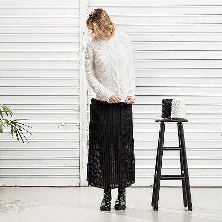 Blusão Tricot Trança Branco