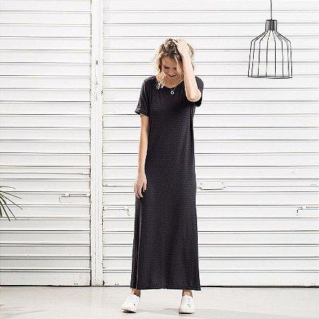 Vestido Tricot Linho Longo Listrado Preto