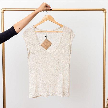 Camiseta Tricot Linho V Natural Linho