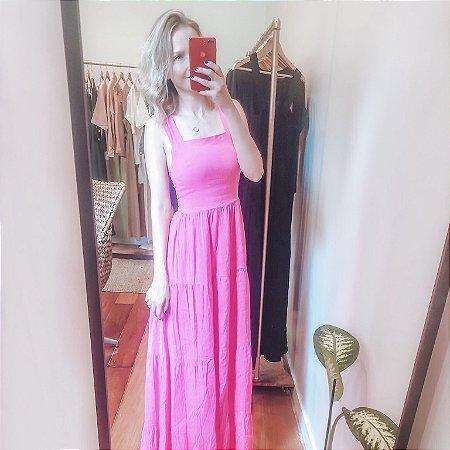 Vestido Viscolinho Longo Rosa