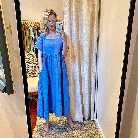 Vestido Linho Decote Quadrado Azul