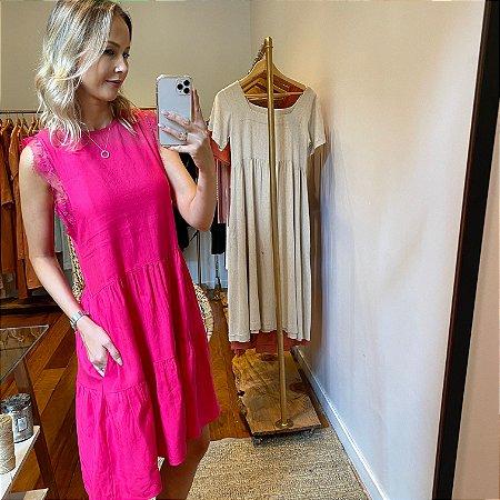 Vestido Linho Renda Pink Curto