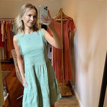 Vestido Linho Renda Verde Pistache Curto