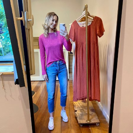Camiseta Tricot Linho M/L Rosa Pink