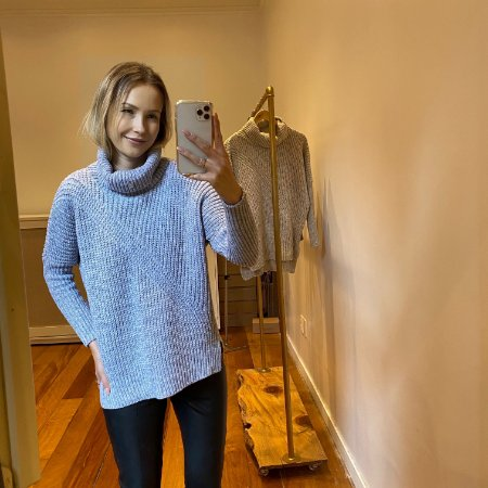 Blusão Tricot New Amplo Cinza Claro
