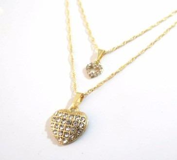 562b0584e2ced Colar Duplo Coração Cheio Folheado A Ouro 18k - Belíssimo! - MILENA ...