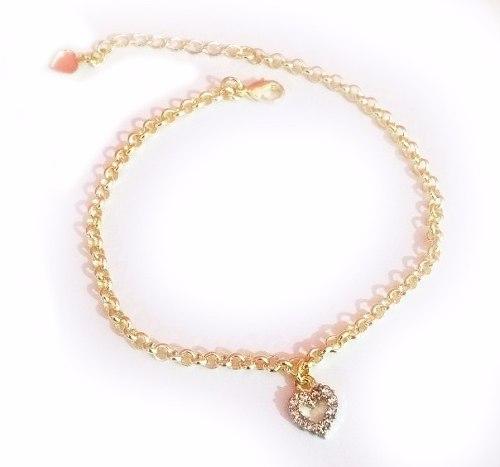 12 Pulseira Coração Pequeno Cristal Vazado Folheada Ouro 18k