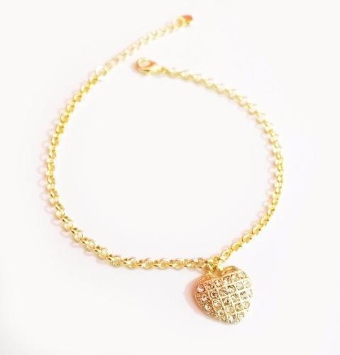 13 Pulseira Coração Grande Cristal Folheada A Ouro 18k.