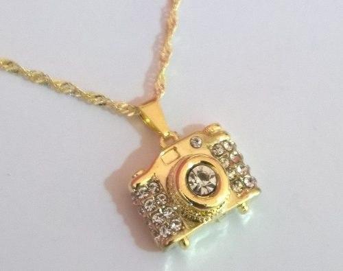 Gargantilha E Pingente De Câmera Fotográfica Folheada A Ouro