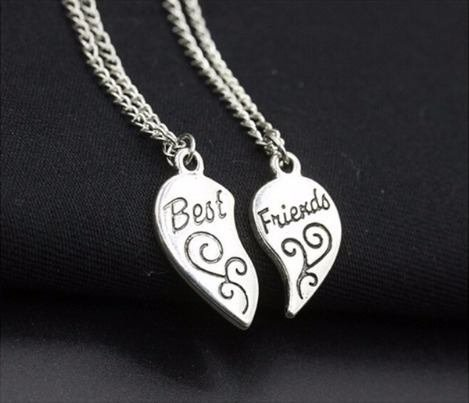 2 Colares Amizade Melhores Amigas Cor Niquel Bf04